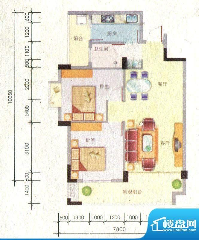 百丰花园4-B户型图 面积:85.72m平米