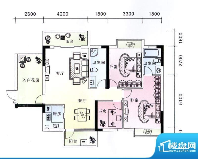 蓝海银湾2#二单元04面积:116.83m平米