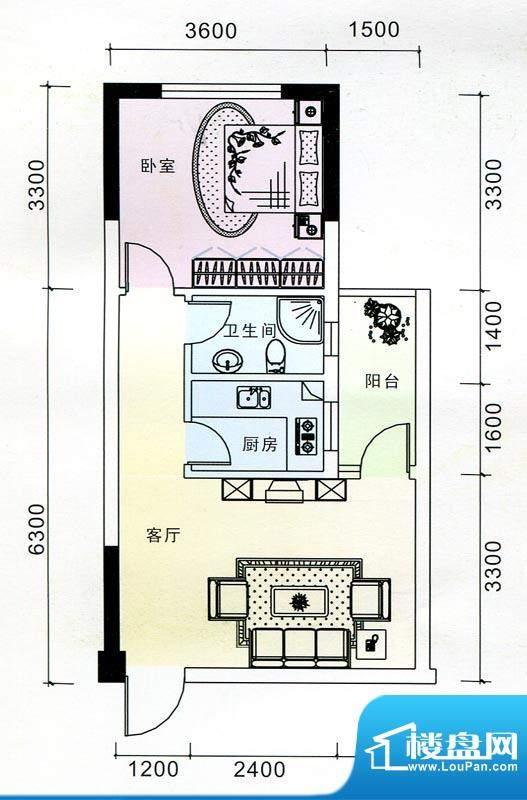 蓝海银湾3#一二三单面积:49.89m平米