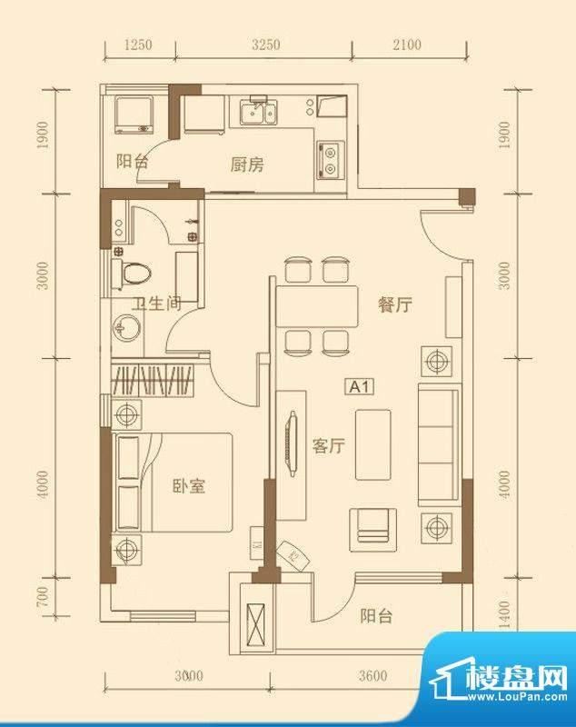 昊海·梧桐A1户型图面积:70.57m平米