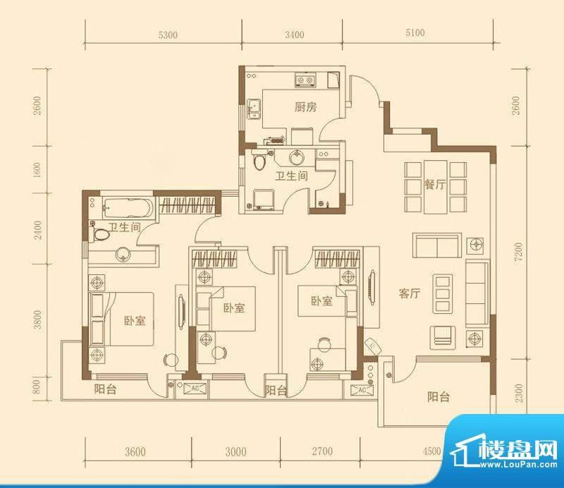 昊海·梧桐C1户型图面积:139.02m平米
