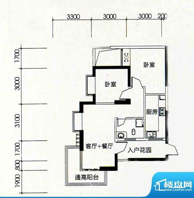 北海南岸5#02号房户面积:77.20m平米
