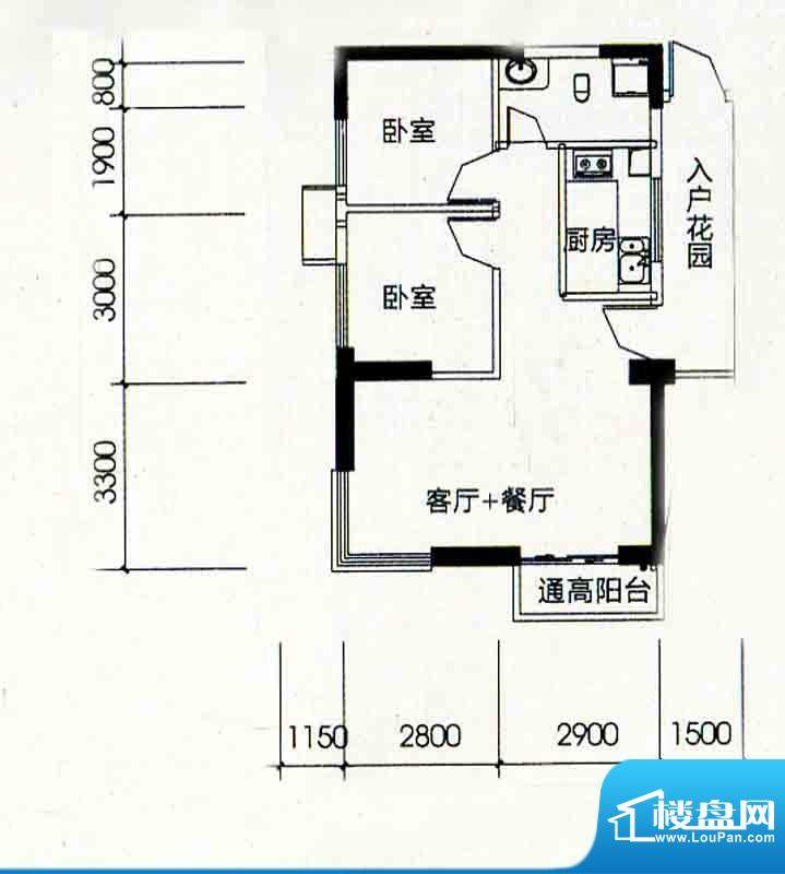 北海南岸5#03号房户面积:73.43m平米