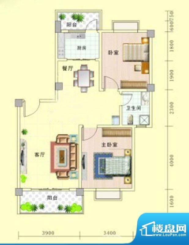 北艺·橄榄苑E2户型面积:86.26m平米