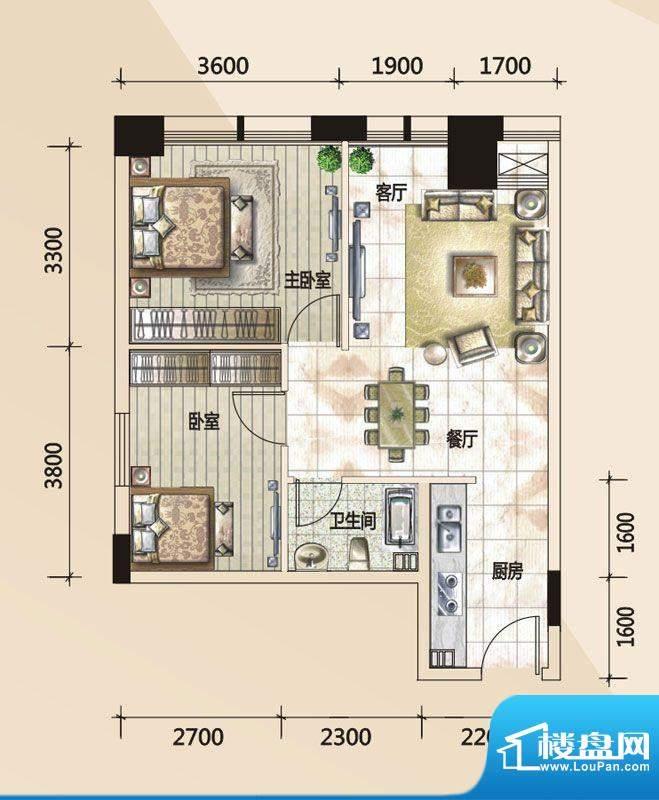 779财富中心A户型图面积:70.54m平米