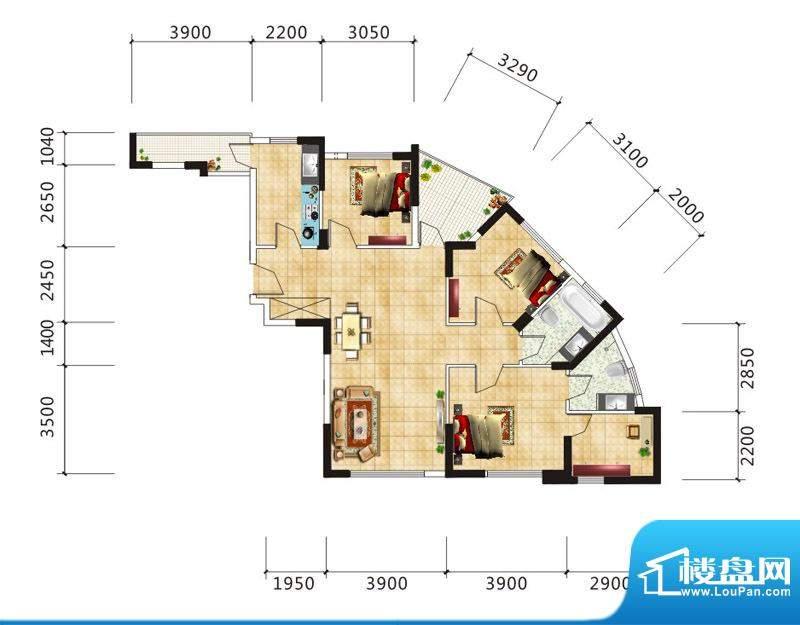 嘉鹏·海韵居E3户型面积:124.74m平米