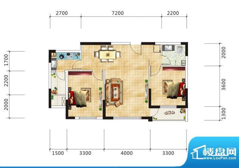 嘉鹏·海韵居A3户型面积:86.54m平米