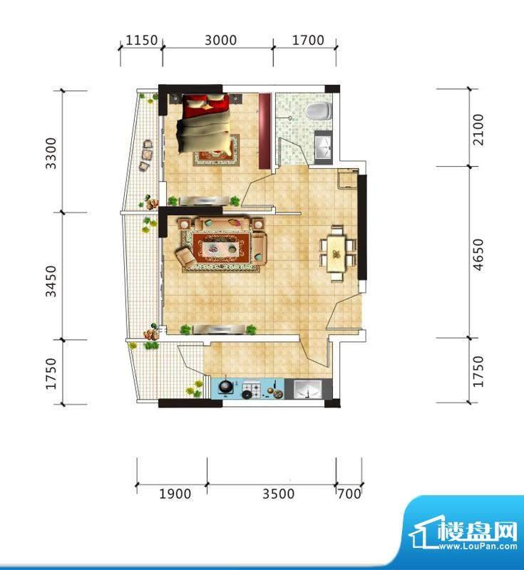 嘉鹏·海韵居D2户型面积:59.04m平米