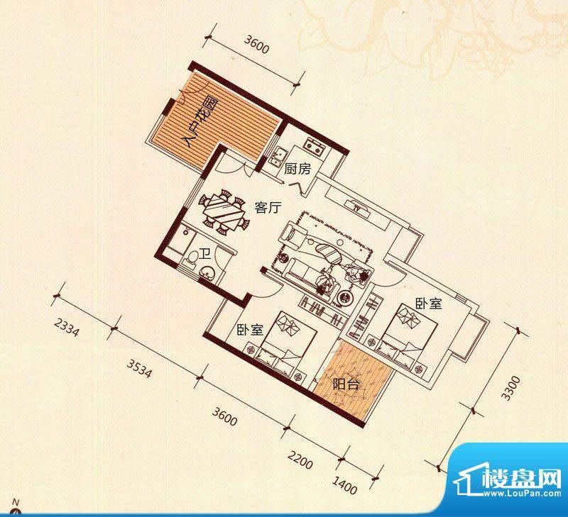 滨海阳光B1户型 2室面积:80.94m平米