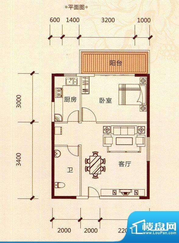滨海阳光A6户型 1室面积:54.86m平米