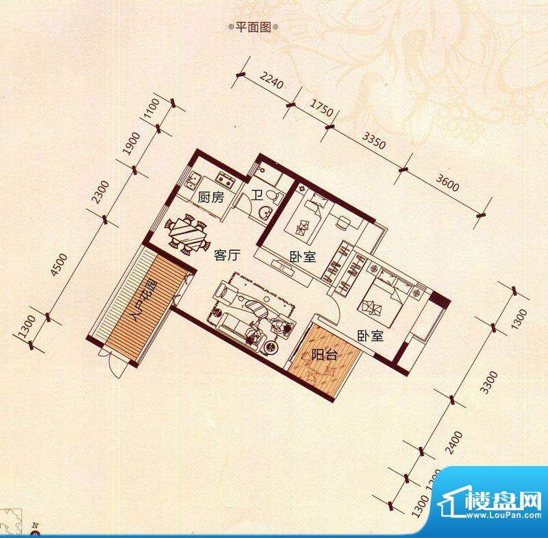 滨海阳光A5户型 2室面积:80.11m平米