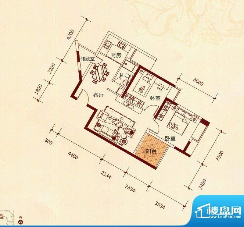 滨海阳光B2户型 2室面积:86.92m平米