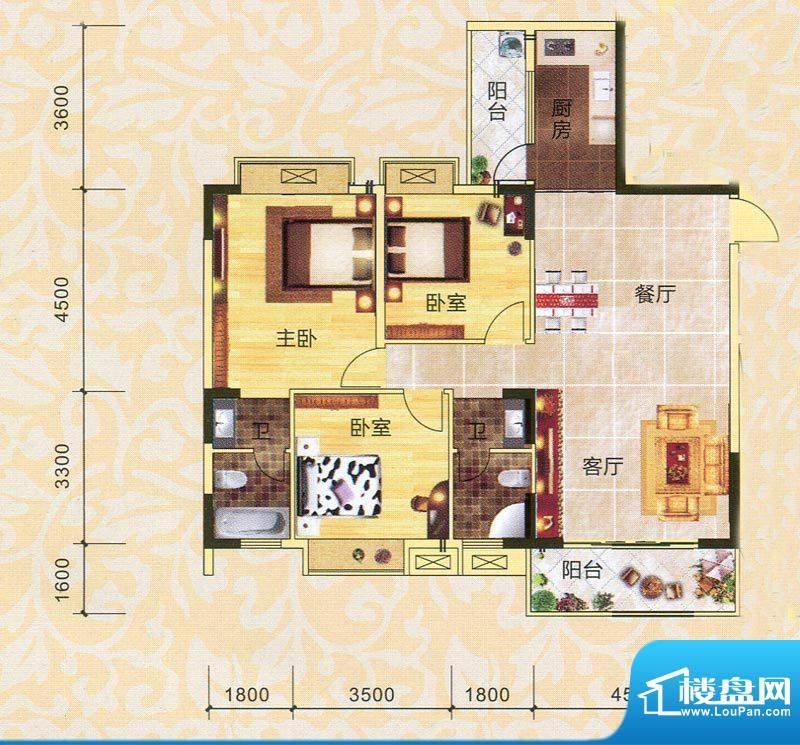 永翔·时代名苑3#楼面积:126.75平