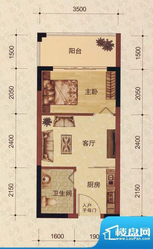 蓝海名都3#04号房户面积:31.00m平米