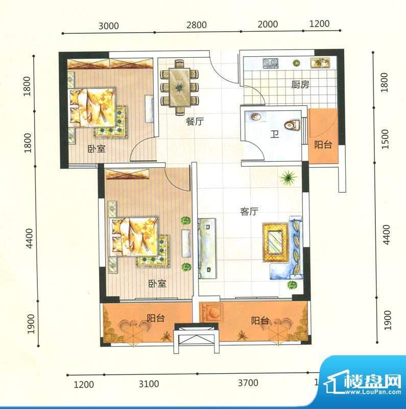 领秀一方K户型图 2室面积:81.41m平米