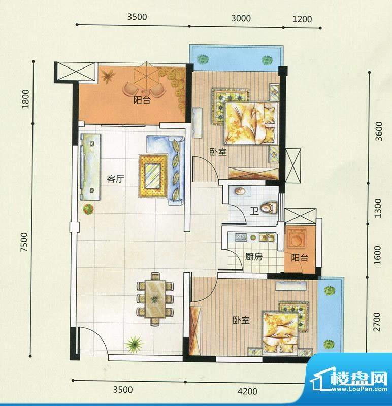 领秀一方J户型图 2室面积:80.37m平米