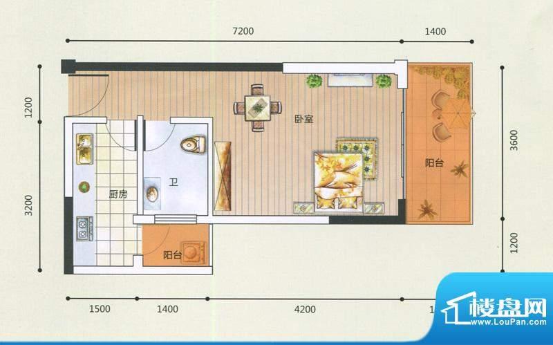 领秀一方F户型图 1室面积:38.69m平米