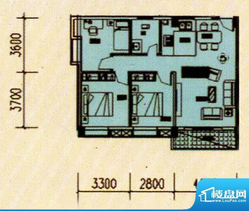 兴盛花园三房户型图面积:120.00m平米