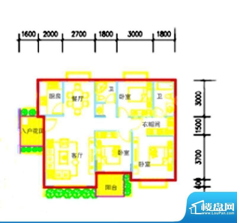智弘银城绿洲A-2c户面积:119.29m平米