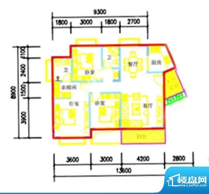 智弘银城绿洲A-2a户面积:119.02m平米