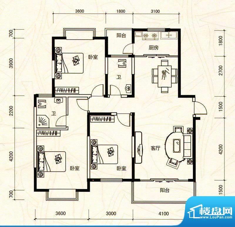 越亚·天赐碧园16栋面积:126.19m平米