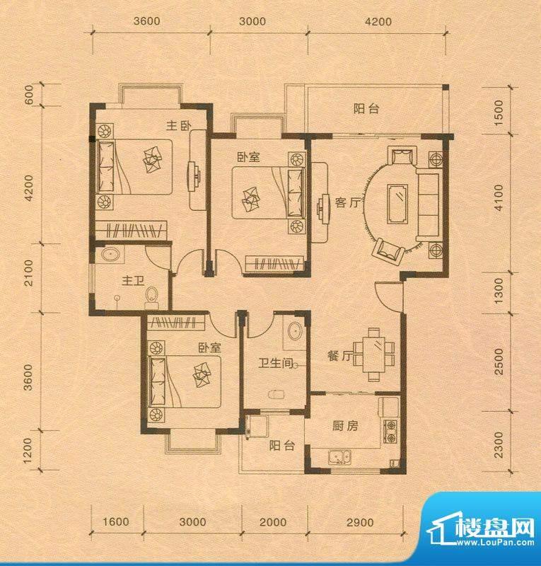 越亚·天赐碧园三房面积:105.90m平米