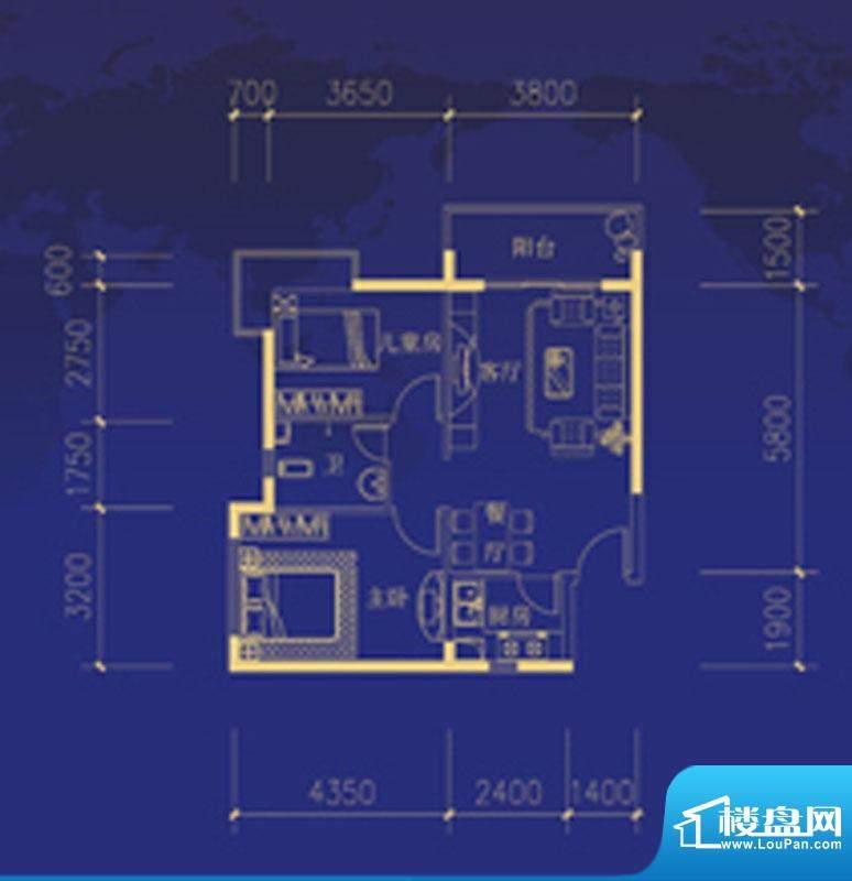 蓝海国际D户型图 2室面积:75.00m平米