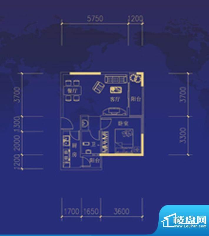 蓝海国际C户型图 1室面积:60.00m平米