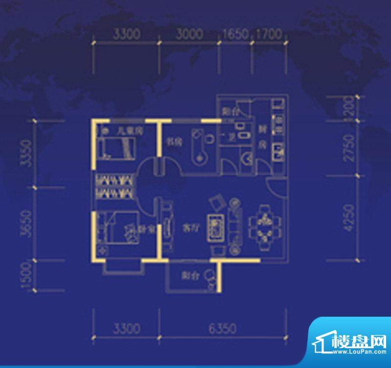 蓝海国际B户型图 3室面积:88.00m平米