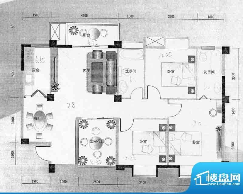 华杰·赫尔馨居C2户面积:119.25m平米