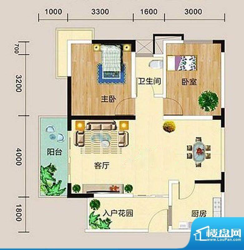 宏海花园A户型图 2室面积:89.55m平米