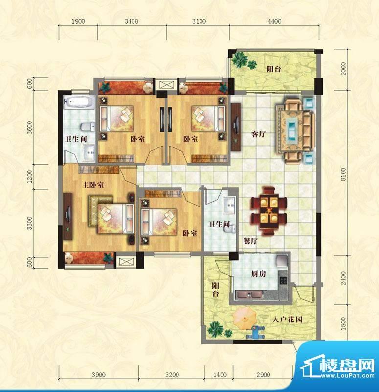 中泰名园1#A1户型图面积:142.30m平米