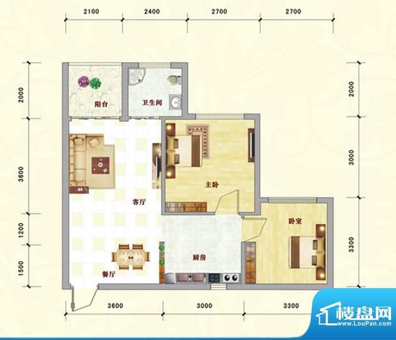 中泰名园9-1-302户型面积:72.09m平米