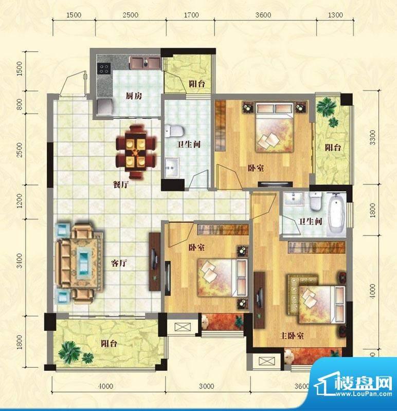 中泰名园1#A4户型图面积:105.25m平米