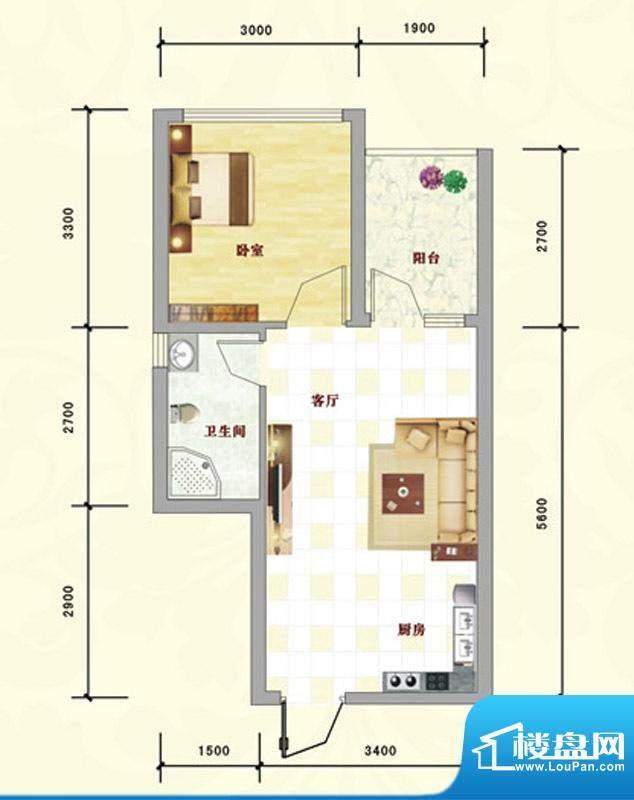 中泰名园9-1-303户型面积:42.66m平米