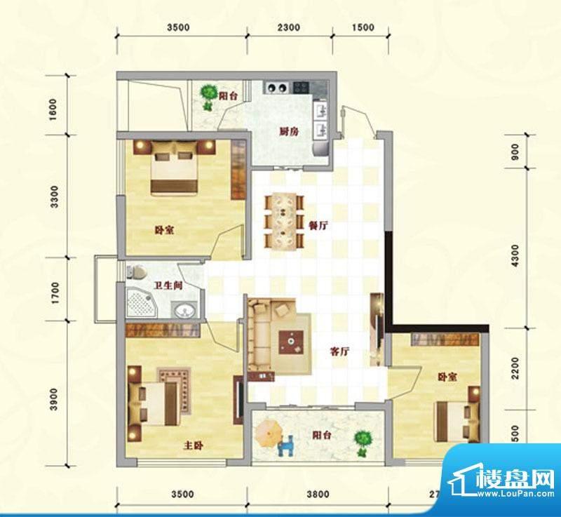 中泰名园9-1-305户型面积:91.14m平米