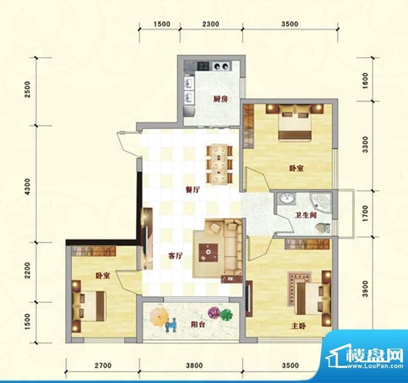 中泰名园9-2-301户型面积:88.24m平米
