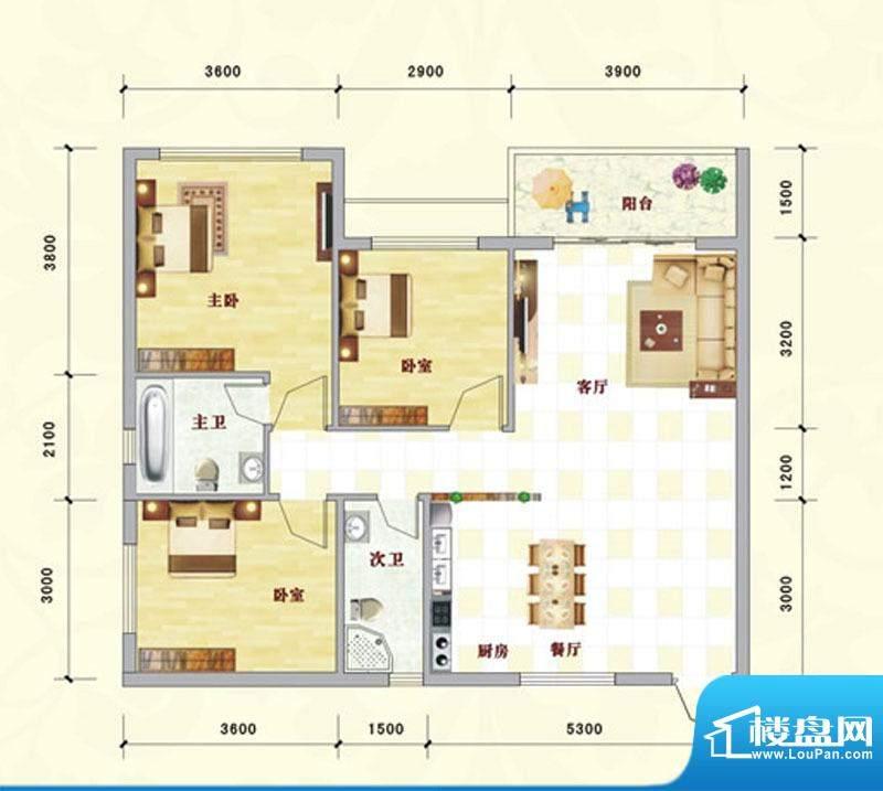中泰名园9-2-303A户面积:100.77m平米