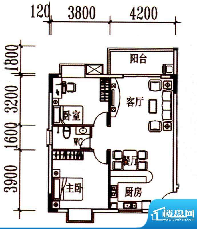 北岸晏城二期A1户型面积:86.00m平米