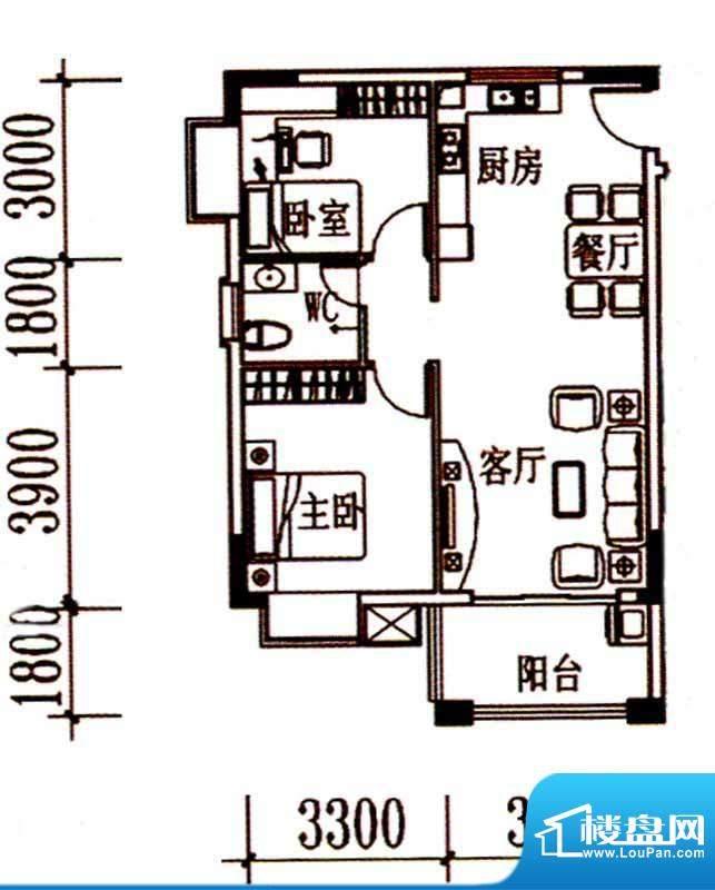 北岸晏城二期A4户型面积:73.00m平米