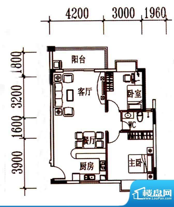 北岸晏城二期A3户型面积:83.00m平米