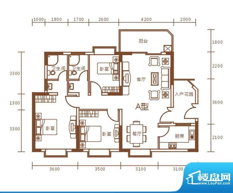 盛世华庭A栋a户型图面积:115.70m平米