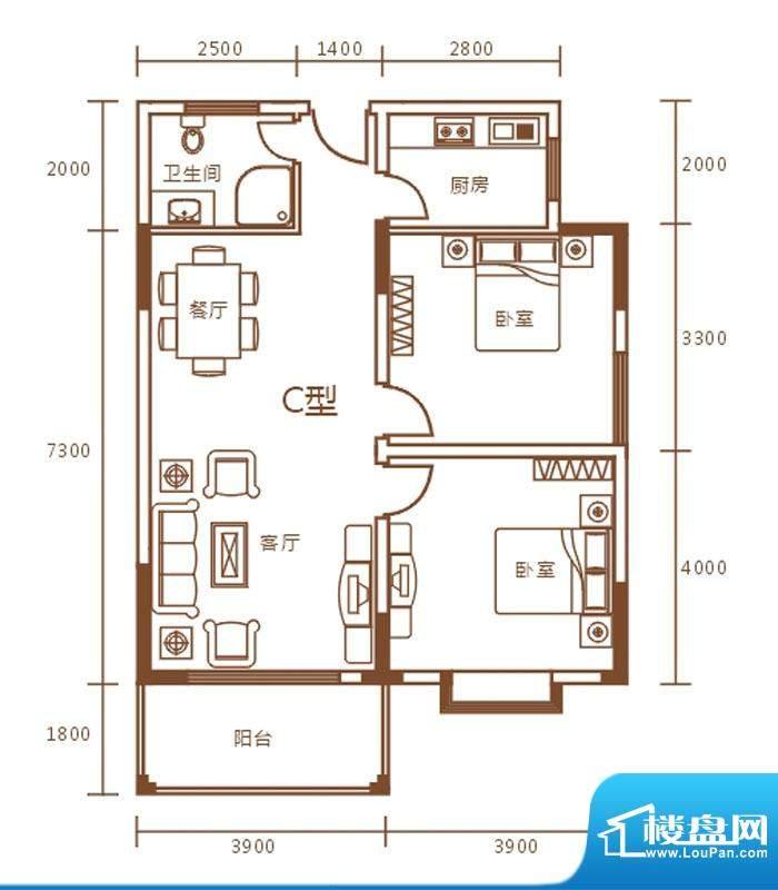 盛世华庭B栋c户型图面积:89.00m平米