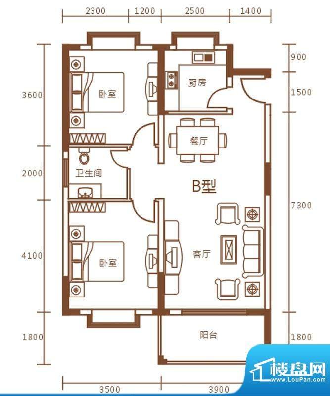 盛世华庭B栋b户型图面积:88.70m平米