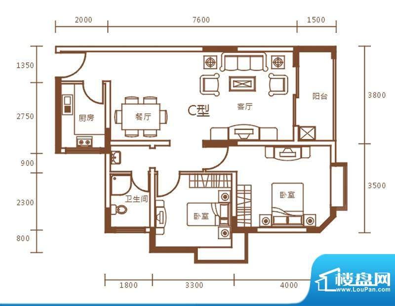 盛世华庭A栋c户型图面积:87.90m平米