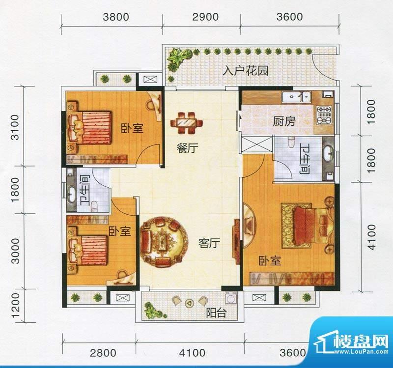 嘉福文华苑A户型图 面积:114.36m平米