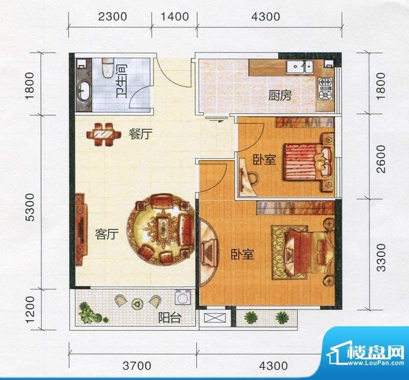 嘉福文华苑D户型图 面积:75.82m平米