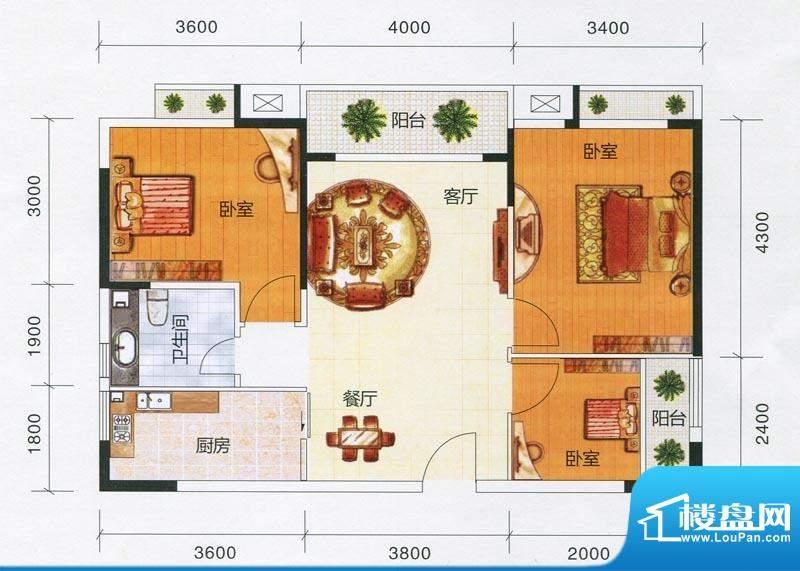 嘉福文华苑B户型图 面积:90.54m平米