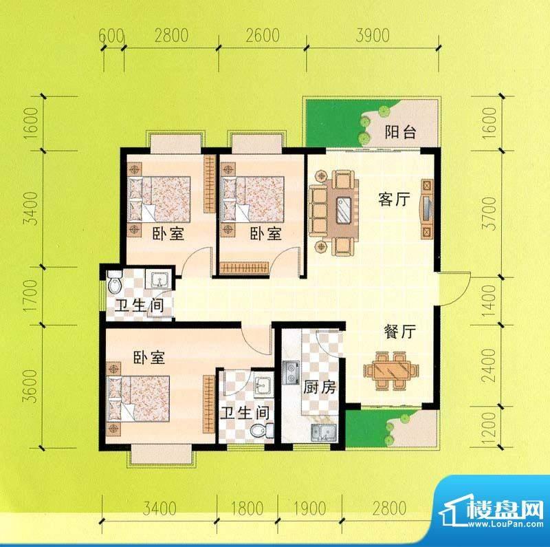 东峰广场A、B#a户型面积:109.18m平米