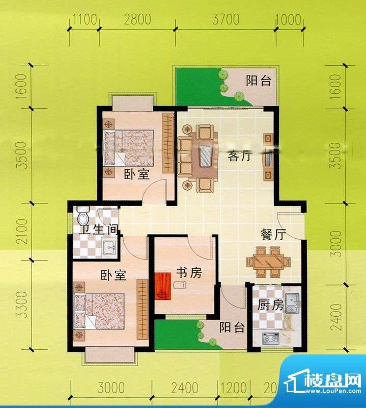 东峰广场E#h户型图 面积:88.57m平米